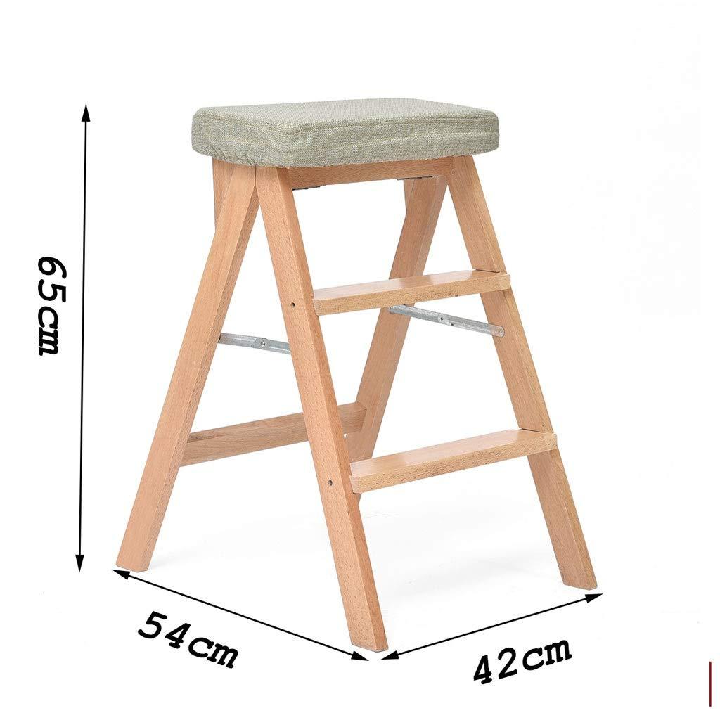 Walnut Grid1 Pliant le tabouret d'échelle de 2 étapes, tabouret portatif en bois solide d'étape, support multifonctionnel de fleur de tabouret d'échelle multifonctionnel de sécurité d'échelle de péda