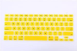 Se7enline Ultra Thin Yellow MacBook Air 13 Inch Keyboard Cover Mac Book Pro 13/15/17 Inch Keyboard Protector Skin Fit for MacBook Model A1369 A1466 A1278 A1502 A1425 A1286 A1398 (US Layout), Yellow
