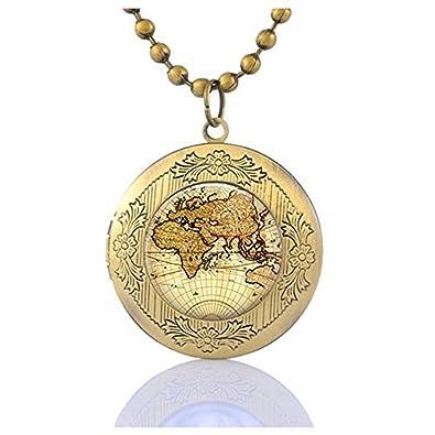 Amazon world map locket necklace globe locket pendant map world map locket necklace globe locket pendant map jewelry gumiabroncs Choice Image