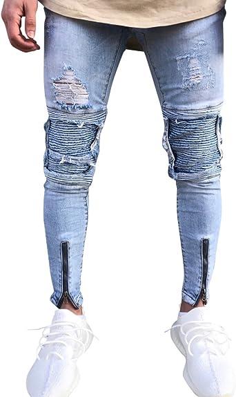 Zhuikun Skinny Biker Jeans Mens Slim Fit Ripped Destroyed Zipper Denim Trousers Light Blue 38 Amazon Co Uk Clothing