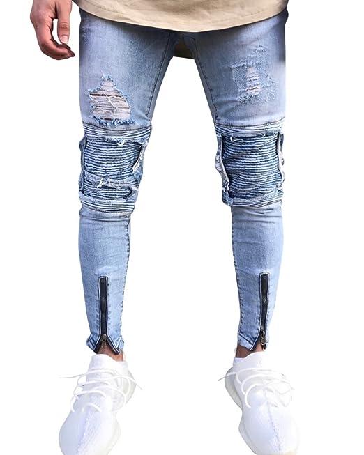 Hombre Skinny Pantalones de Mezclilla Vaqueros Rotos Slim Fit con Parches y Cremallera w2zxoo