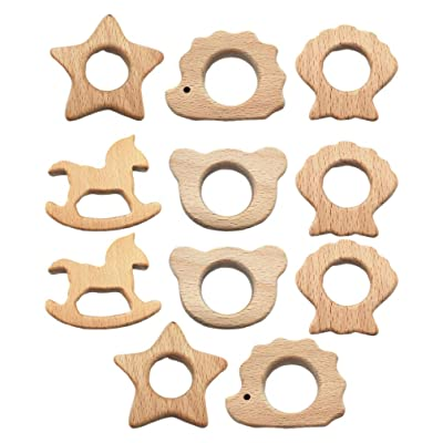 Milisten 11 Pcs Infant Teether DIY Craft Pacifier Wood Molar Ring Cartoon Animal Shape Teething Toy Pacifier Chain Supplies for Baby Newborn (Mixed Style): Toys & Games