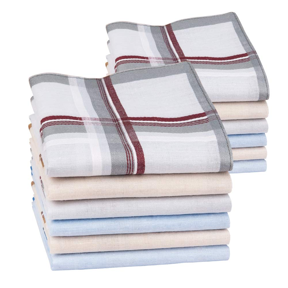 Houlife Classic 100/% 60S Cotton Mens Stripe Checkered Pattern Handkerchiefs Assorted Soft Plaid Hankies for Casual Fathers Day Gift 6//12 Pieces 16x16//40x40cm