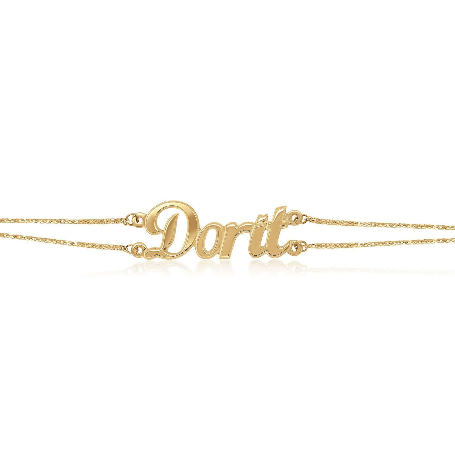 Personalized Double Classic Name Bracelet 14K Yellow Gold by Fresh
