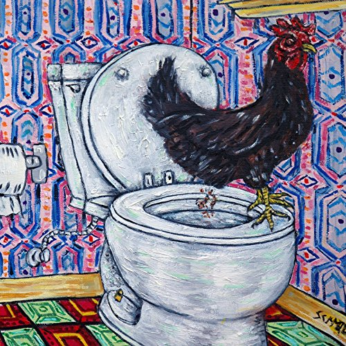 Chicken Hen Rooster in the Bathroom farm animal art tile coaster gift (& Hen Coasters Rooster)