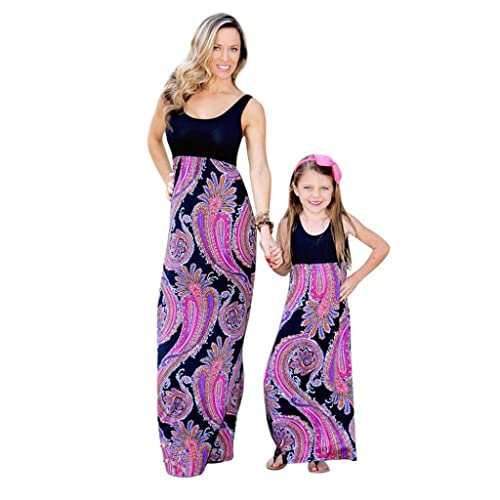 Felicy Mother and Daughter Matching Dress, Women and Baby Girls Summer Floral Print Sundress Vest Bohemia Beach Maxi Dresses Parent-Child Family Clothes