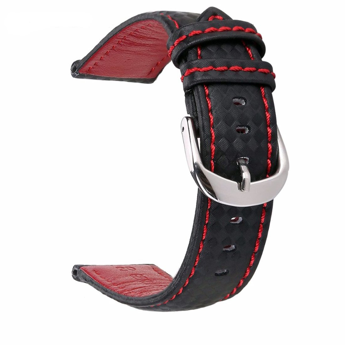Izasky Genuine Leather Watchband - Quick Release Leather Watch Band Black with Stitched Leather Lining Stainless Steel Clasp Buckle (22mm, Black Red Thread)