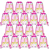 Unicorn Party Favors Bags Viaky 18 Pcs Unicorn Drawstring Backpacks Birthday Party Bag Candy Bag Cookie Bag Gifts Bag for Kids Party Decoration