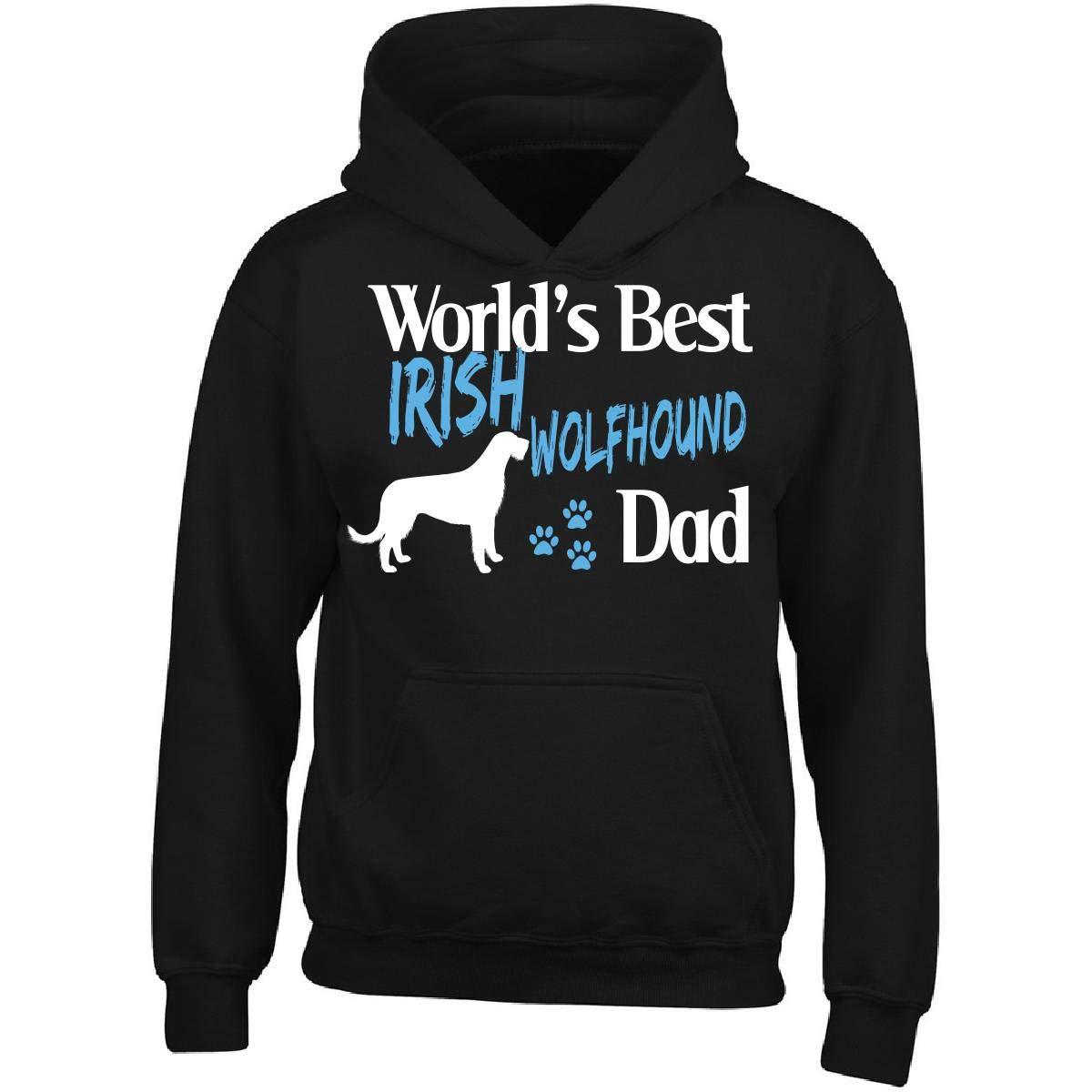 Irish Wolfhound World's Best Dog Dad, Pet Owner - Adult Hoodie M Black
