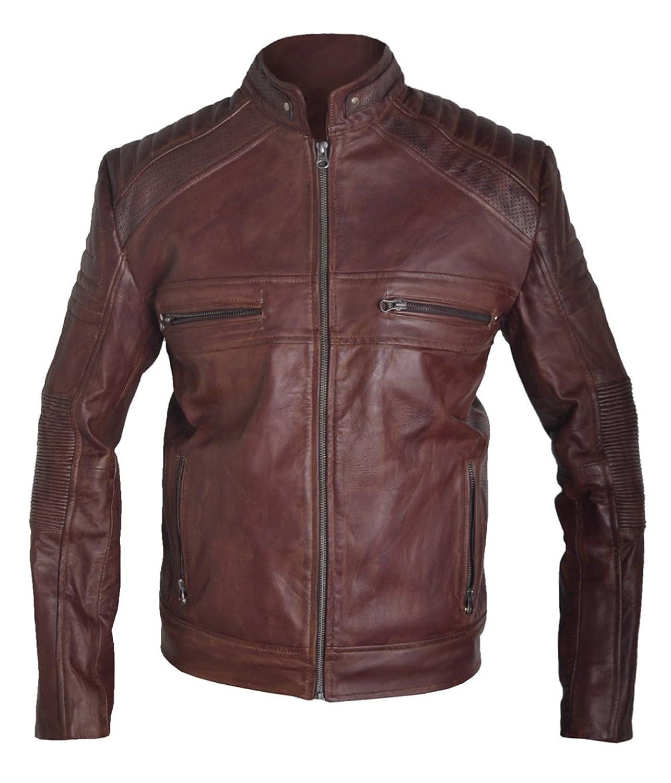 Classyak Men's Vintage Cafe Racer Biker Real Leather Jacket