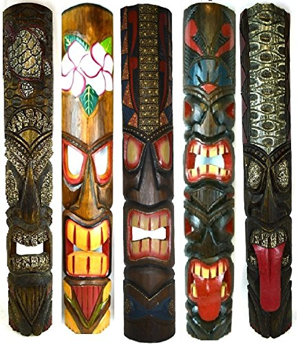 "Set of 5 40"" Polynesian Hawaiian Tiki Bar Style Wall Masks Island Art"