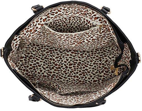 Leahward® Ladies Fashion Essener Celebrity Qualità Ecopelle Spalla Borsa A Tracolla Alla Moda Cws00406 (nero / Nudo)