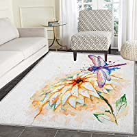 Dragonfly Non Slip Rugs Watercolor Stylized Lily Flower and Flying Bug over it Nature Spring Theme Print Door Mats for inside Non Slip Backing 4x5 Multicolor