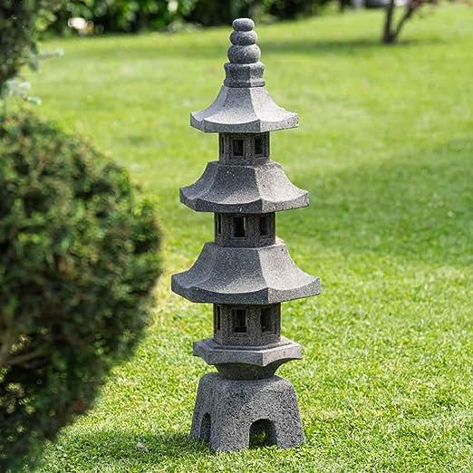 Wanda collection Linterna Japonesa Pagoda de Piedra de Lava jardín Zen 100 cm: Amazon.es: Jardín