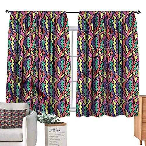 WinfreyDecor Colorful Light Luxury high-end Curtains Stained Glass Pattern Darkening and Thermal Insulating 55