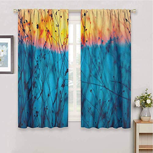 DIMICA Kitchen Curtain Nature Dried Flowers Twigs Tranquil Sunset Scenery Agriculture Autumn Field 2 Panel Sets W108 x L84 Inch Pale Blue Peach Orange
