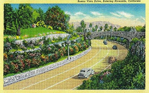 Buena Vista Drive, Entering Riverside 1930 (16x24 SIGNED Print Master Art Print - Wall Decor Poster) (Buena Vista Drive)