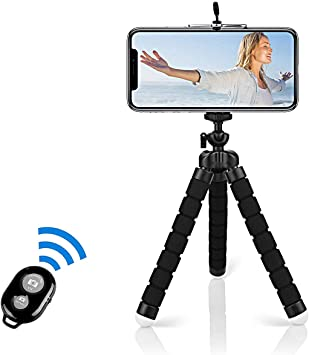 Todo para el streamer: Alfort Mini Trípode, Trípode Móvil Flexible 360°Rotación Teléfonos de Soporte con Control Remoto Portátil Trípode para iPhone 8/8 Plus/Samsung S7 Edge/Huawei P10/Mate 9 Pro y Otros iOS/Android (5.5'')
