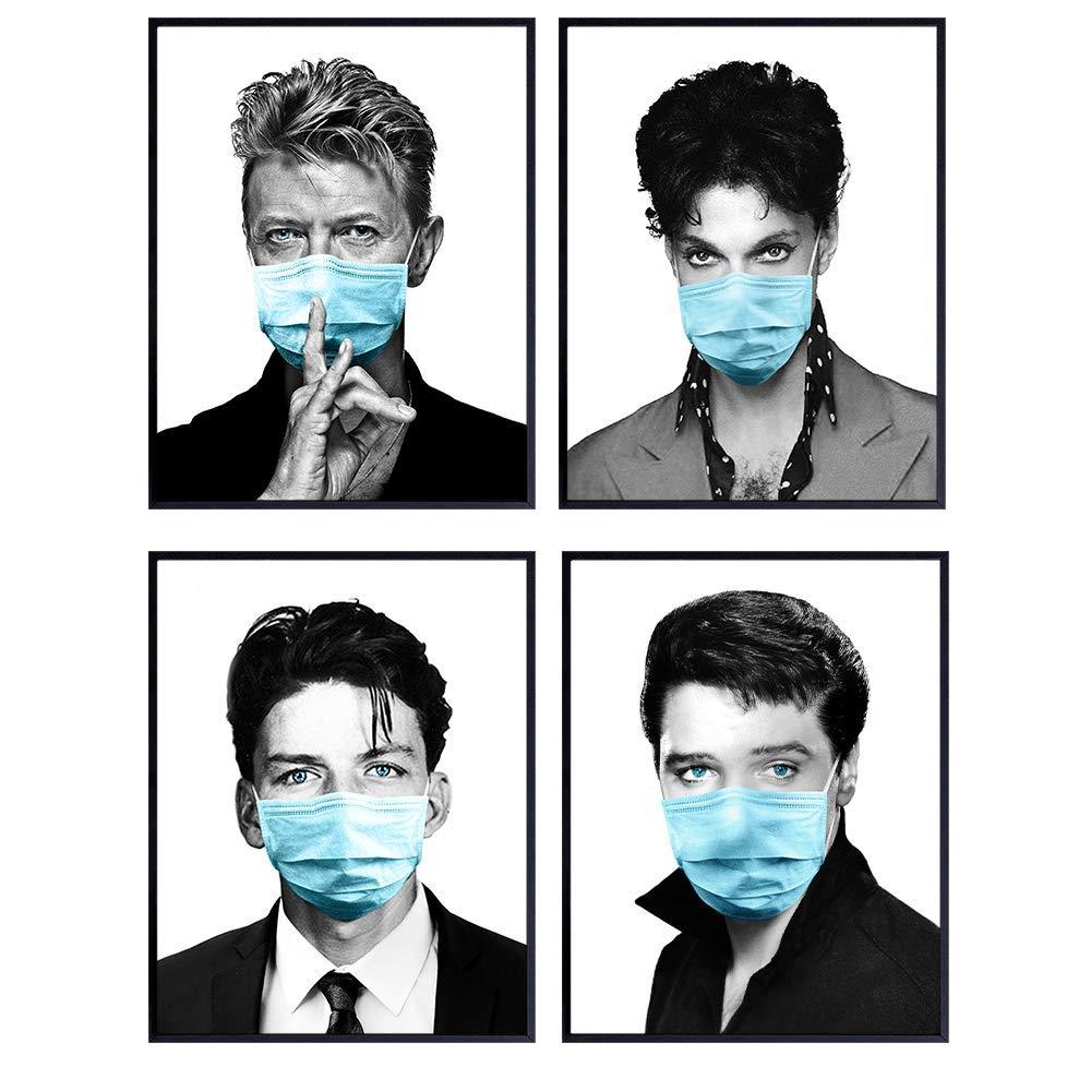 Prince, David Bowie, Elvis Presley, Frank Sinatra Poster Set - Musician Rock Star Wall Art Room Decor for Bedroom, Living Room - Medical Office Decor - Gift for Doctor, Nurse, RN, Music Fan