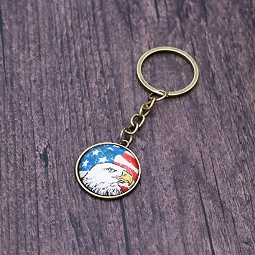 10Pcs Bald Eagle Key Chain Exquisite American Flag Art Antique Charm USA Flag Keychain Vintage Jewelry (Bronze) ()