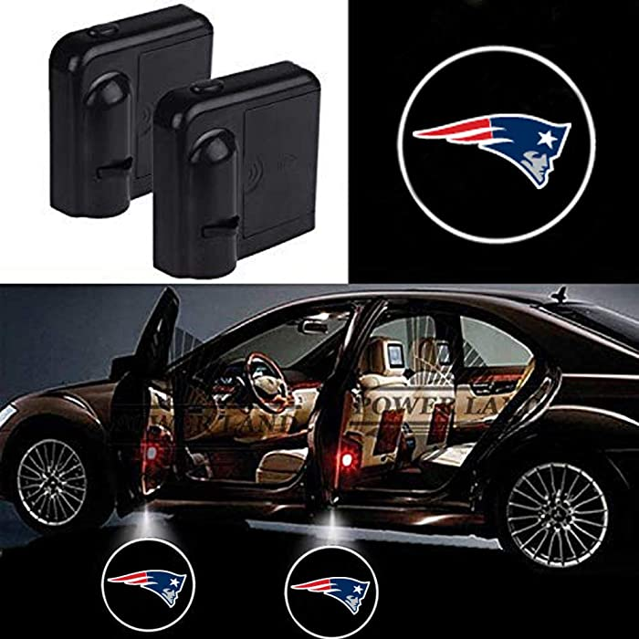 For New England Patriots Car Door Led Welcome Laser Projector Car Door Courtesy Light Suitable Fit for all brands of cars