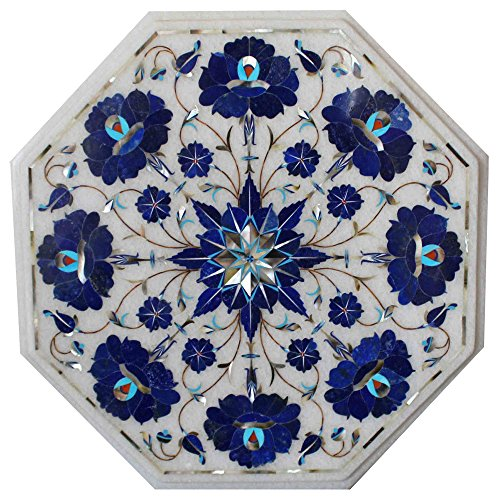 White Marble Table Top Mosaic Inlay Work Arts Home Room Decor
