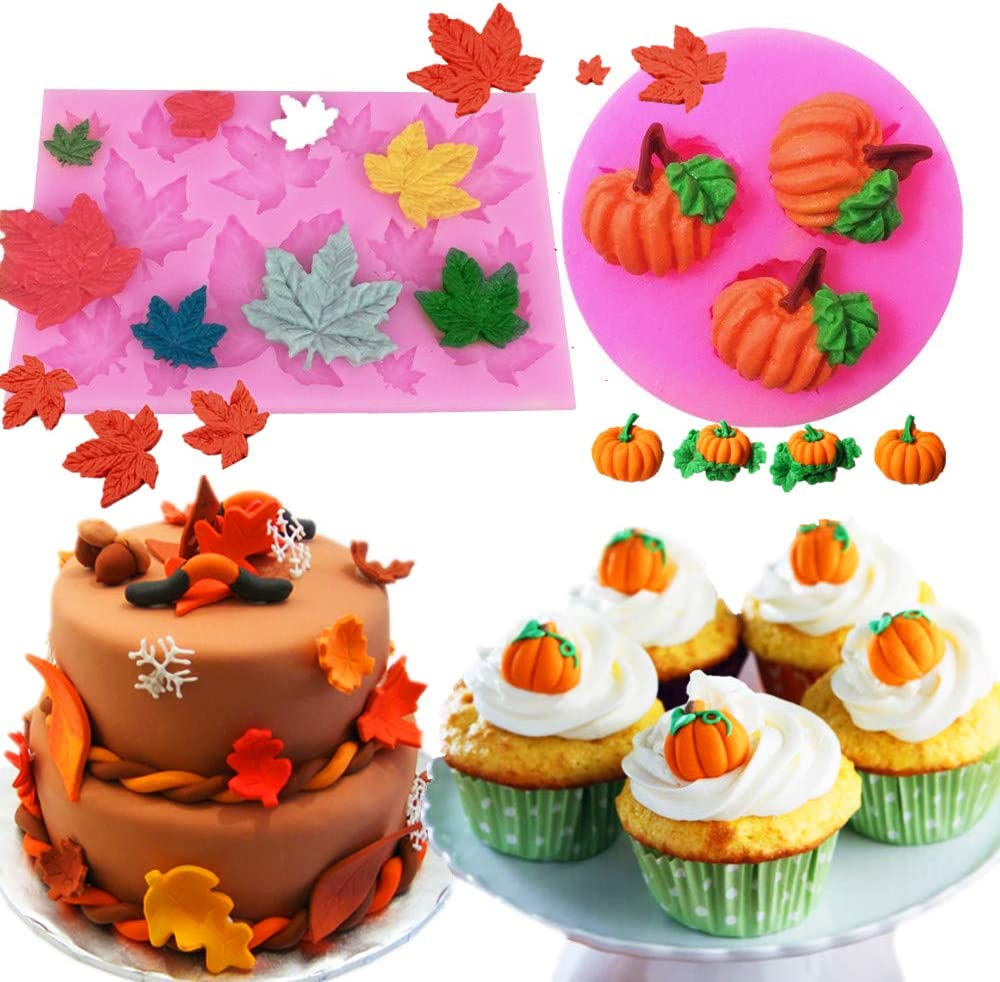 JeVenis 2pcs Mini Maple Leaves Silicone Mold Pumpkin Mold Cupcake Baking Molds Fondant Cake Decorating Tools Chocolate Candy Clay Moulds for Fall Thanks Giving