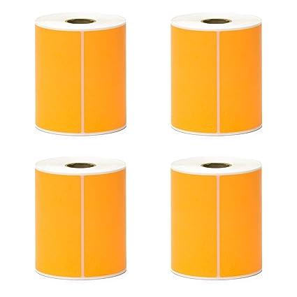 Amazon com : Direct Thermal Labels - Orange - 4