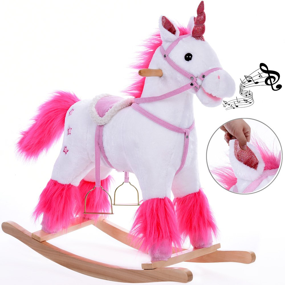 Deuba Schaukeleinhorn Schaukeltier Plüsch Schaukel Wippe Pferd Einhorn Kinder Baby Spielzeug ✔Sound-Geräusche ✔inkl Sicherheitsgurt ✔Balancetraining ✔besonders weich