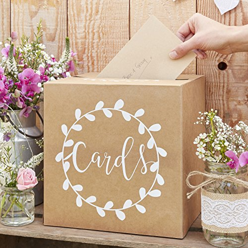 Ginger Ray Sturdy Wedding Day Card Box - Natural Kraft with White Text Post Box - Rustic Country -