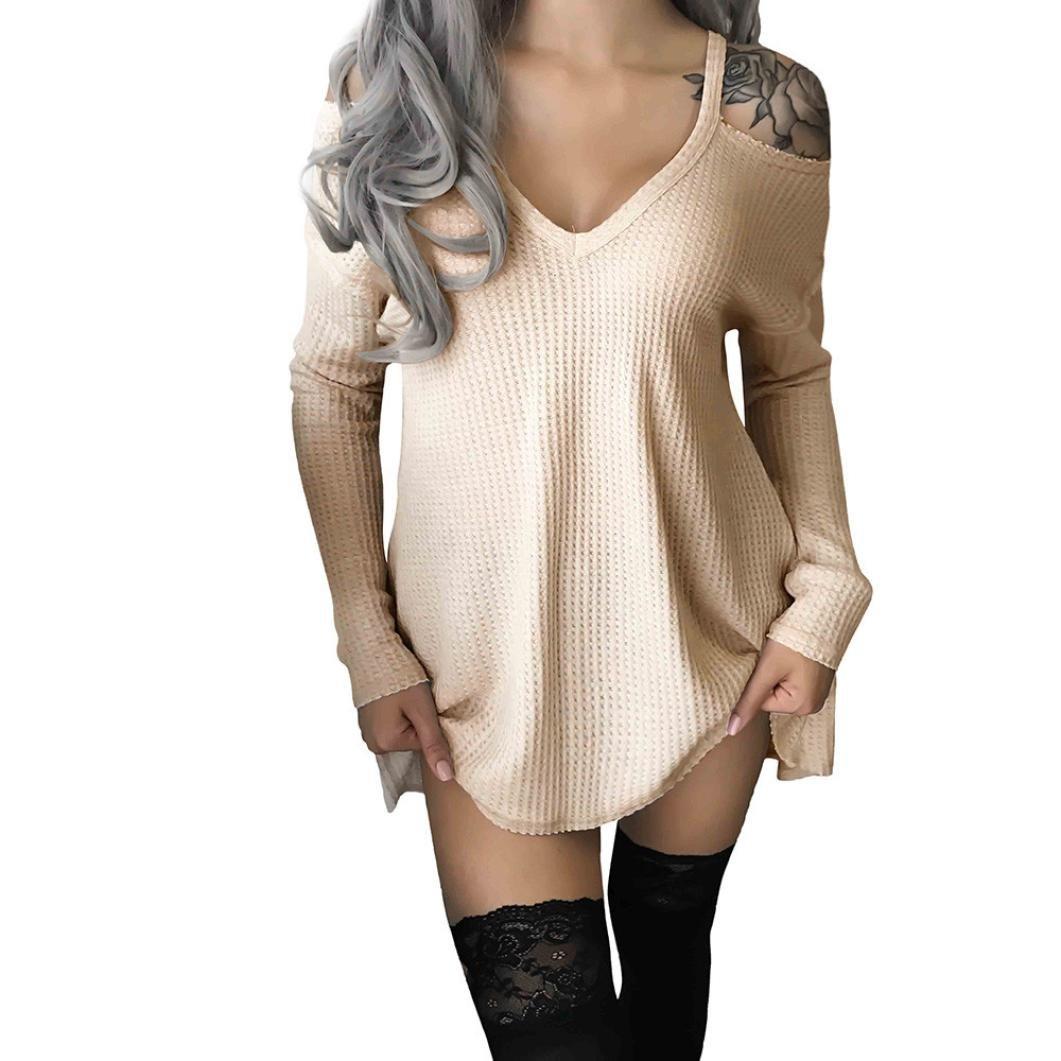 Angelof Pull Tricoter Femmes Loose Col V Encolure Bretelles Pull Manches Longues Blouse Chic ÉVaséE Robe Pull Uni Courte ANGELOF0028