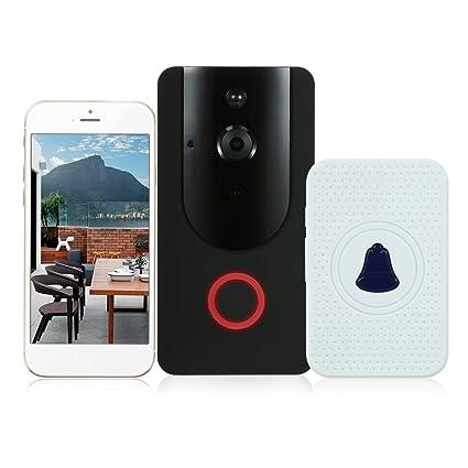 OWSOO Timbre Vídeo Inalámbrico WiFi HD 720P con Puerta Interior Ding-Dong Bell Soporte PIR