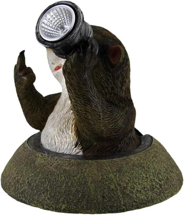 Zeckos Funny Solar Eyes Middle Finger Groundhog LED Accent Light Statue
