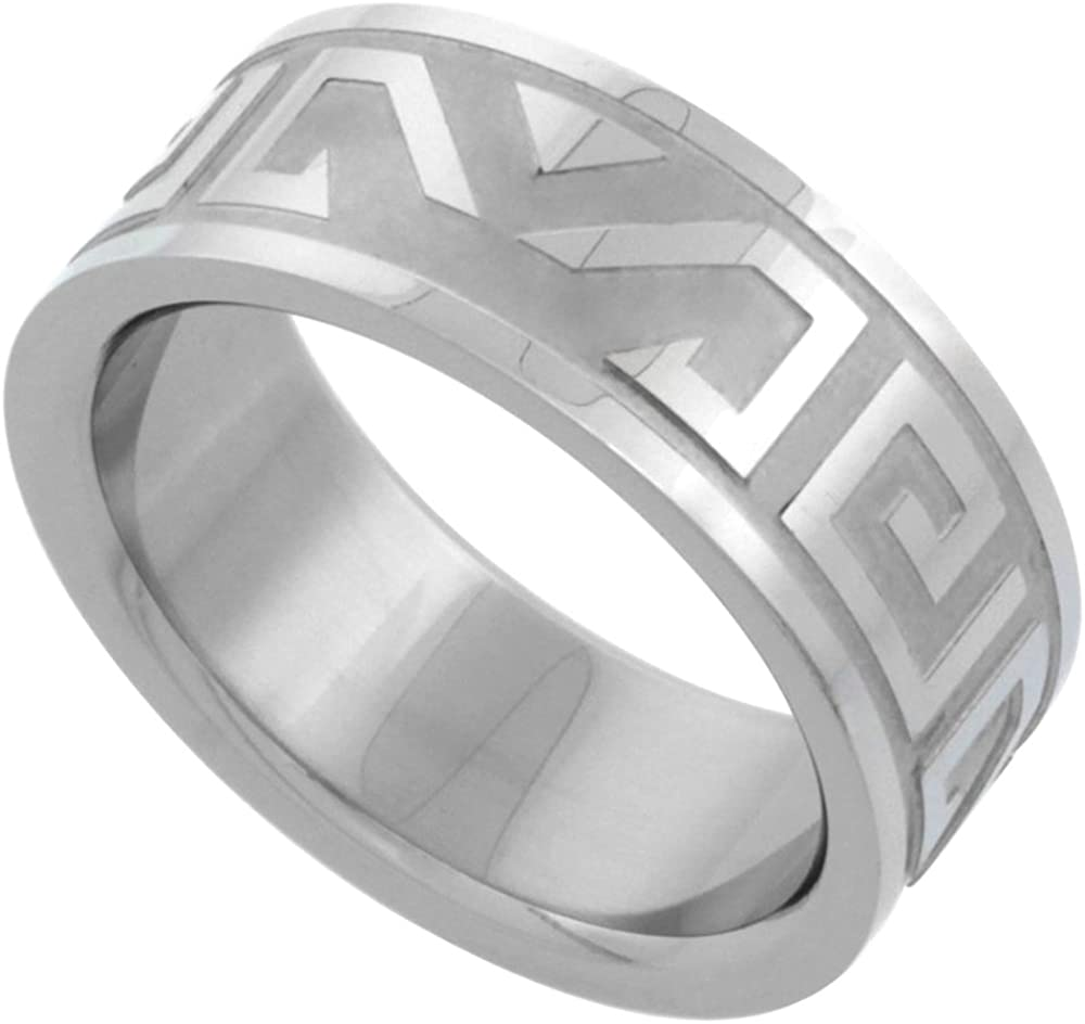 Surgical Stainless Steel 8mm Aztec Wedding Band Ring Etched Design, Sizes 7-14
