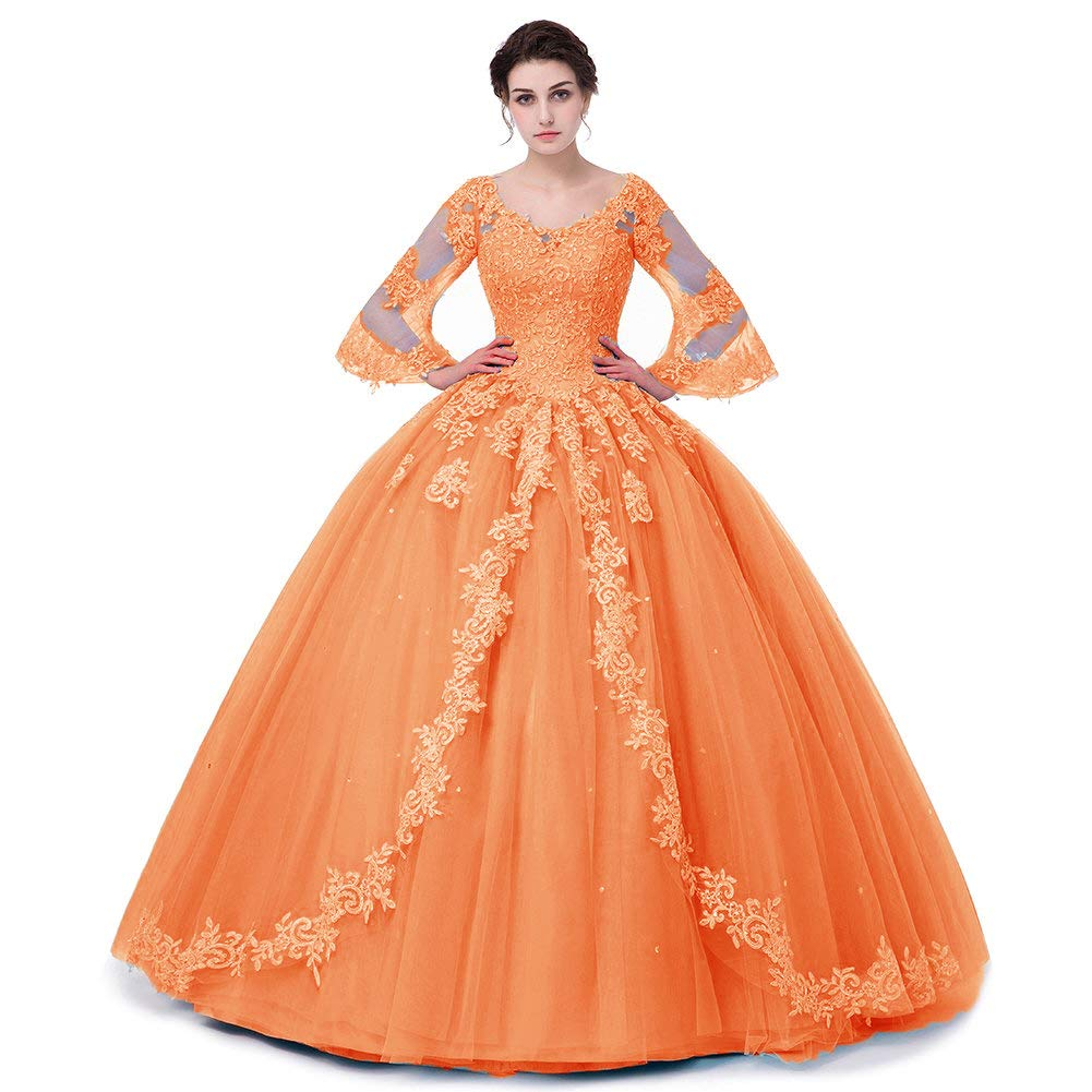 orange APXPF Women's Full Sleeves Lace Quinceanera Dresses Formal Prom Party Gown