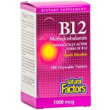 Natural Factors - Vitamin B12 Methylcobalamin 1000mcg, Support for Nerve Function, Energy Production & Red Blood Cells, 180 Chewable Tablets