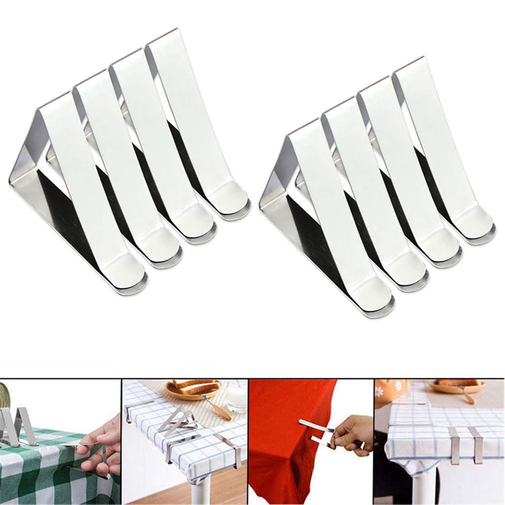 8pcs Outdoor Stainless Steel Tablecloth Clips Table Cover Clamps Anti-Rust Holders for Patios, Picnics, Wedding,Camping, Party Mastertrade