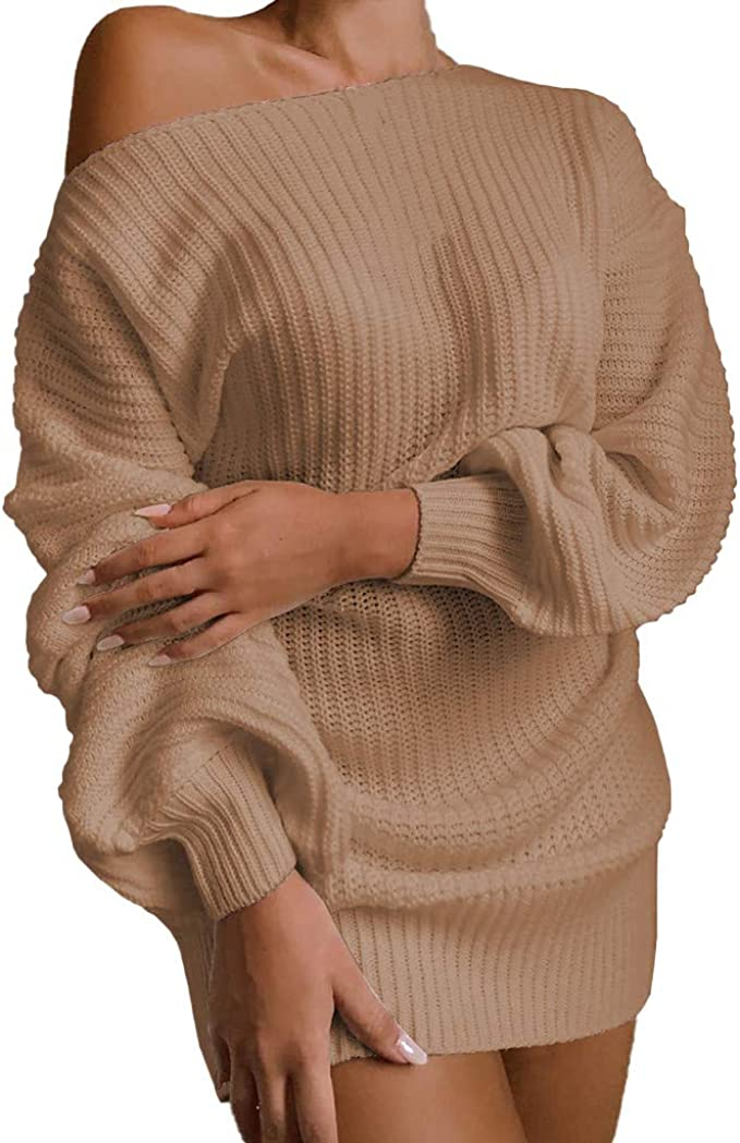 ANOKA Off Shoulder Long Sleeve Womens Sweater Dress