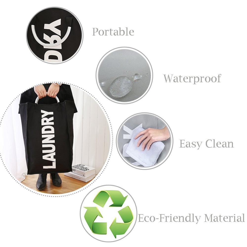 XIFIRY Collapsible Laundry Bags with Alloy Handles, Portable Storage Bags for Collecting Clothes Shopping Bags (Black)