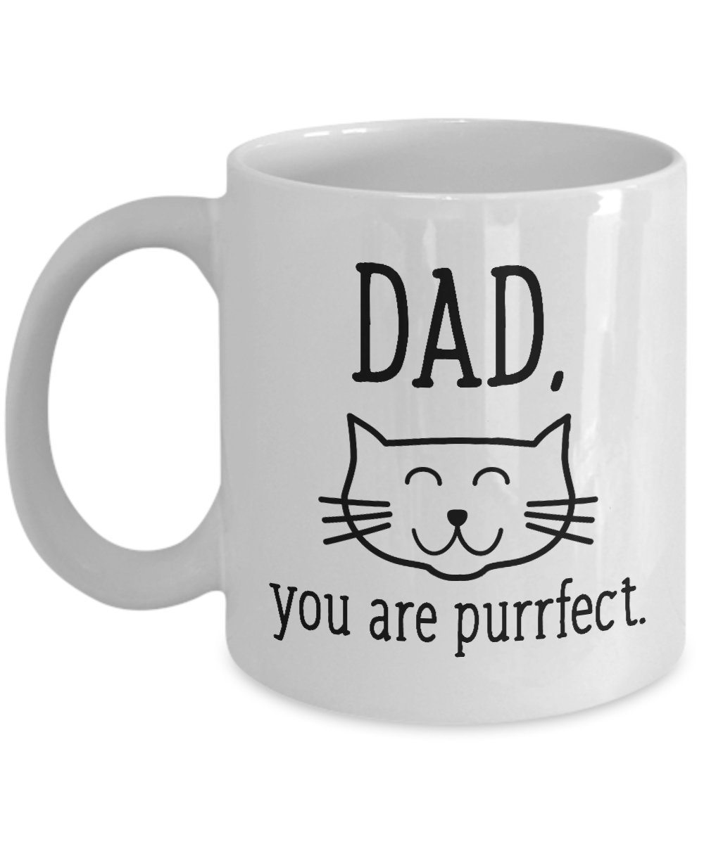 Dad You Are Purrfect、かわいい猫マグ – セラミックコーヒーまたは紅茶マグfor Dad , Funny Cat Loverギフトfor Dad 15oz ホワイト 15oz  B074WFXGDM