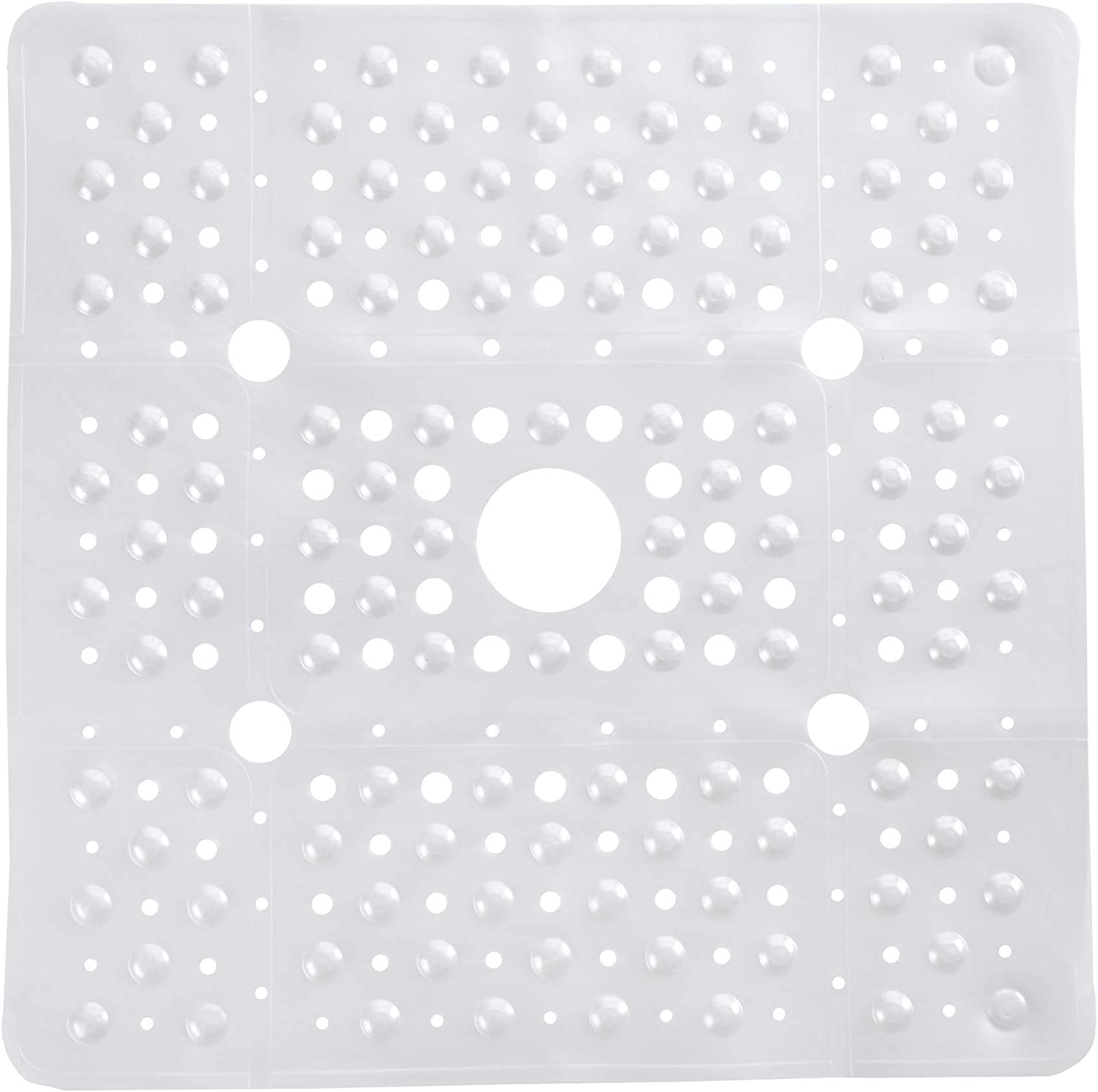 SlipX Solutions Extra Large Square Shower Mat, 27 x 27 Inches, Provides More Coverage & Non-Slip Traction (100 Suction Cups, Great Drainage, White Pearl): Health & Personal Care
