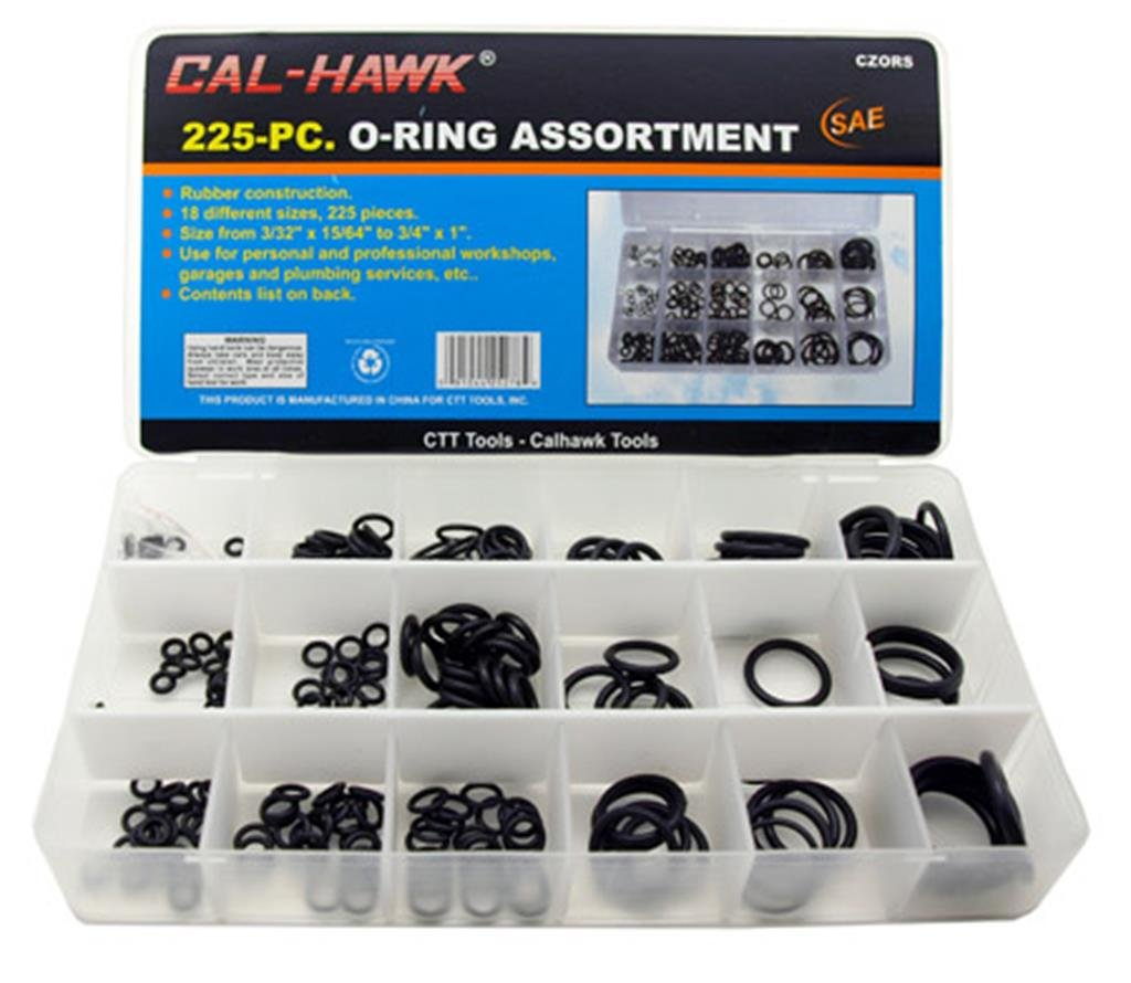 Cal Hawk CZORS 225 O-Ring Assortment Kit SAE Pneumatic Air Rubber ...