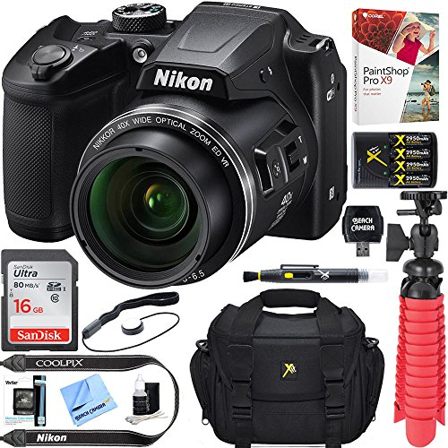 Nikon COOLPIX B500 16MP 40x Optical Zoom Digital Camera w/WiFi – Black (Certified Refurbished) + 16GB SDHC Accessory Bundle