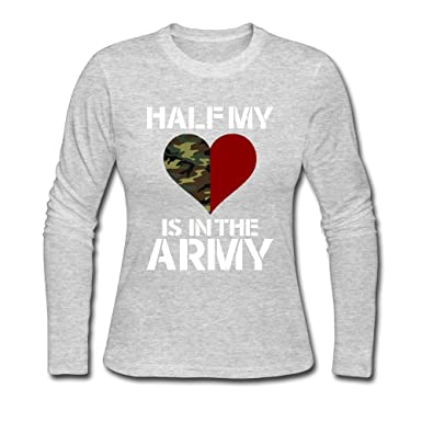 226e580d40d4ca Amazon.com: Fomete Half My Heart Is In The Army Casual Custom Women's  Stylish Long Sleeve T-Shirt: Clothing