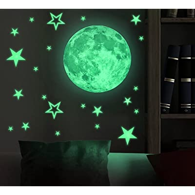 Amaonm Removable Glow in The Dark Moon and Stars Wall Decals Stickers DIY Vinyl Wall Art Decor Peel and Stick Decal for Home Bedroom Ceiling Kids Room Baby Nursery Rooms: Home Improvement
