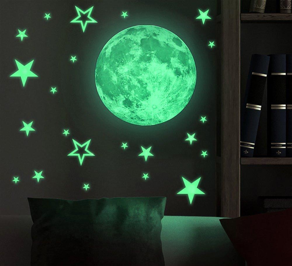 Redriver Removable Moon Stars Glow in the Dark Sticker Night Luminous Kids Room Wall Stickers
