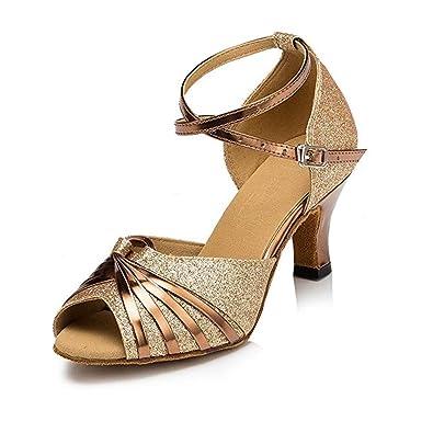 db2223ab59 Women's Sparkling Glitter Heels Latin Dance Shoes Open Toe Ballroom Salsa  Tango Party Dress Dance Shoes