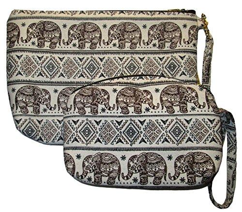 (Cosmetic Makeup Bag Set 2 Pieces Pencil Pen Case Purse Bag Elephant Print Canvas Unique Handmade (Brown))