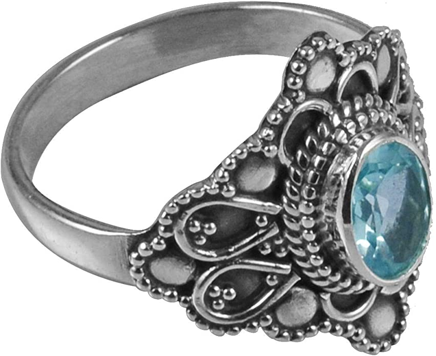 Sterling silver 925 texture oxidized ring with birthstone blue topaz blue pattern band ring December stone big unique women gemstone
