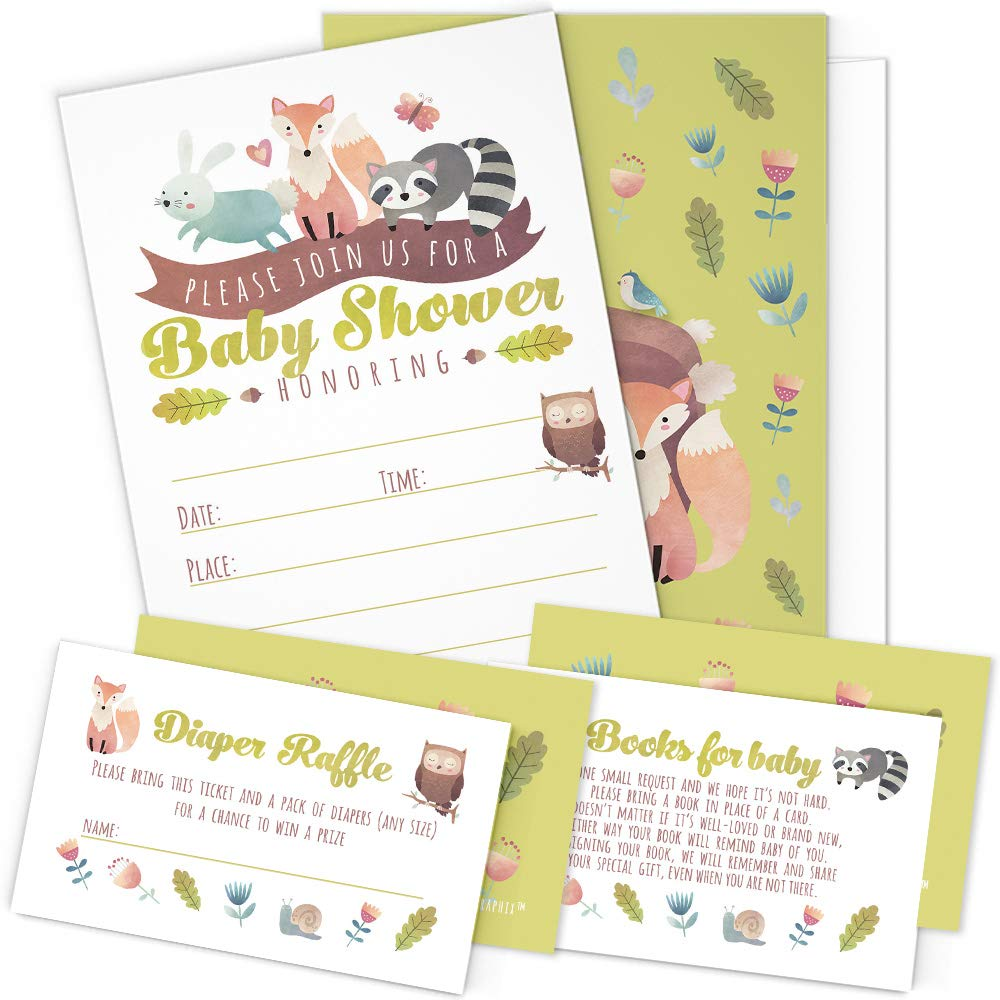 A Set of 25 Woodland Animals Baby Shower Invitations, Diaper Raffle Tickets and Baby Shower Book Request Cards with Envelopes. Gender Neutral Invites Perfect for Baby Boys and Baby Girls. by PartyGraphix